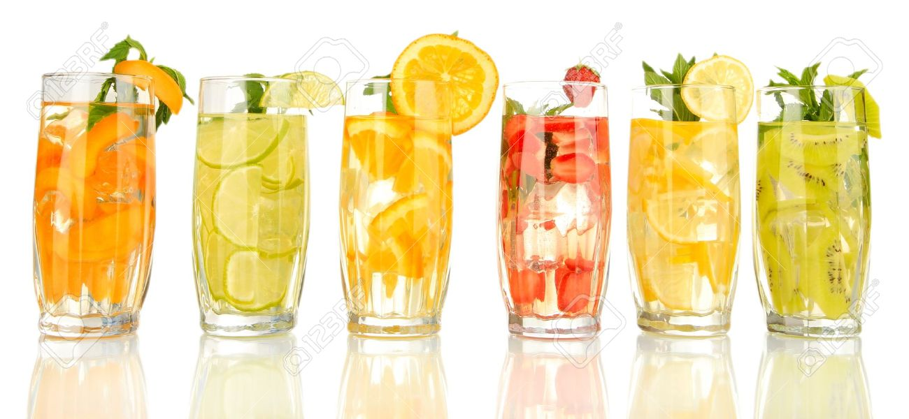 21112884-Glasses-of-fruit-drinks-with-ice-cubes-isolated-on-white-Stock-Photo