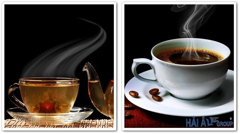 nước trà và cà phê nóng sử dụng máy đun nước nóng