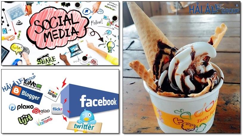 quảng cáo cho cửa hàng kem tươi với mạng xã hội