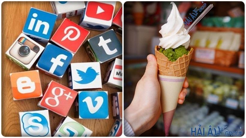 quảng cáo cho cửa hàng kem với mạng xã hội